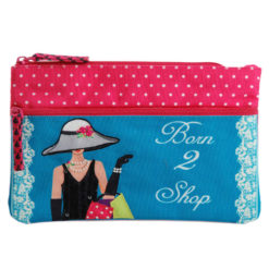 Born to Shop Two Zipper Pouch