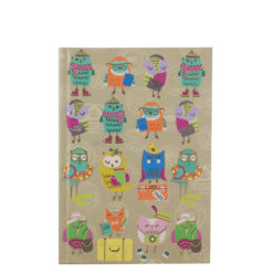 "Funky Owls Hard Case Cover Paper Notebook 7""x —5"" Inches (B6)"