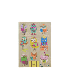 "Funky Owls Hard Case Cover Paper Notebook 6""x4"" Inches (A6)"