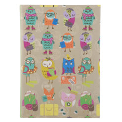 "Funky Owls Luxury Flexible Cover Paper Notebook 8.5""x6"" Inches (A5)"