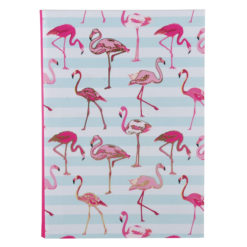"Flamingo carnations Luxury Flexible Cover Paper Notebook 8.5""x 6"" Inches (A5)"