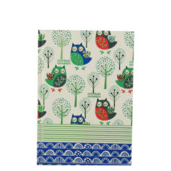 "Sleepy Owls Hard Case Cover Paper Notebook 7""x 5"" Inches (B6)"