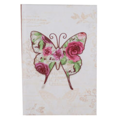 "Vintage Butterfly Hard Case Cover Paper Notebook 8.5""x6"" Inches (A5)"