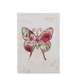 "Vintage Butterfly Hard Case Cover Paper Notebook 7""x5"" Inches (B6)"